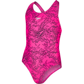 speedo Boom Allover Splashback Badpak Meisjes, electric pink/black